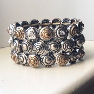 Stalls and Dot two tone stretch bracelet.